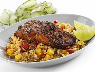 Jerk Marinated Alaskan MSC Sockeye Salmon Fillets with Mango Rice (skinless, boneless)
