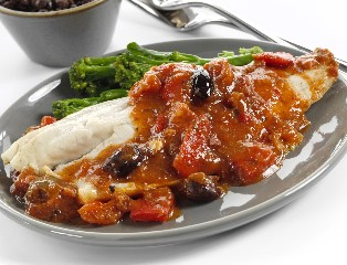 Mediterranean Sea Bass in a Cherry Tomato Sauce with Roasted Peppers, Kalamata Olives & Chorizo (skin on, boneless)